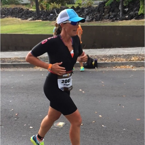 Steph competing in one of many Ironman competitions she's completed.
