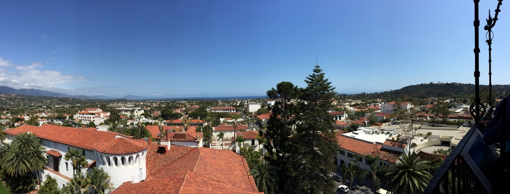 Panoramic, birds-eye view of Santa Barbara ocean front from the Courthouse bell tower.