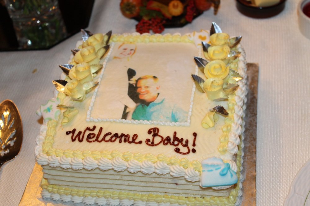It's not a baby shower without carrot cake with cream cheese frosting (MY FAVE!) and your pic scanned on top.