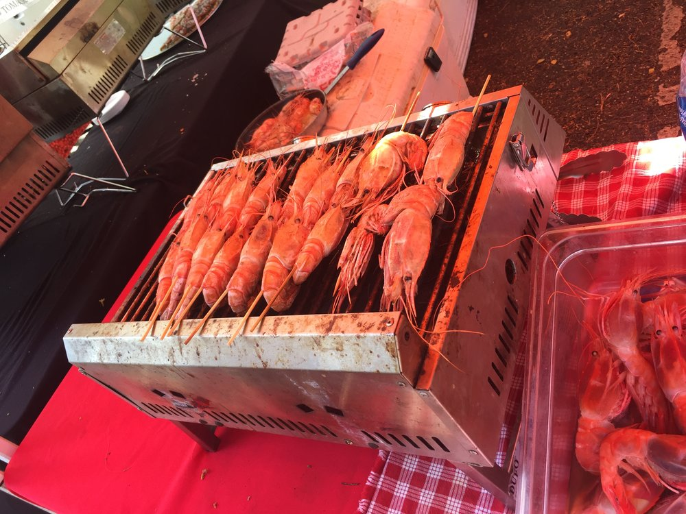 JUMBO prawns cooking at the KCC Market