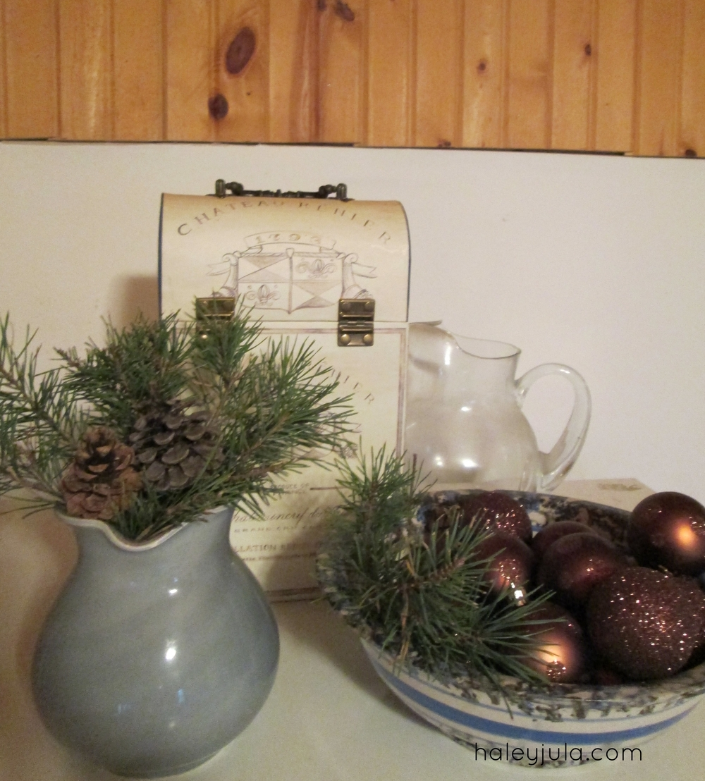Ornaments in a bowl up high (away from little hands), and more pine :)