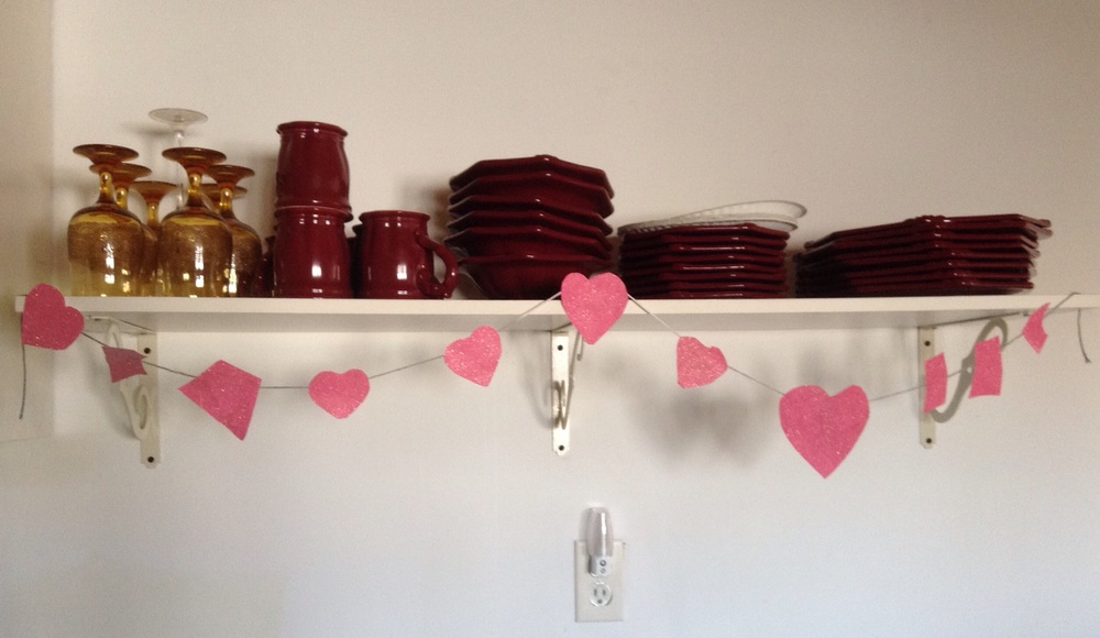 Heart garland in the kitchen.