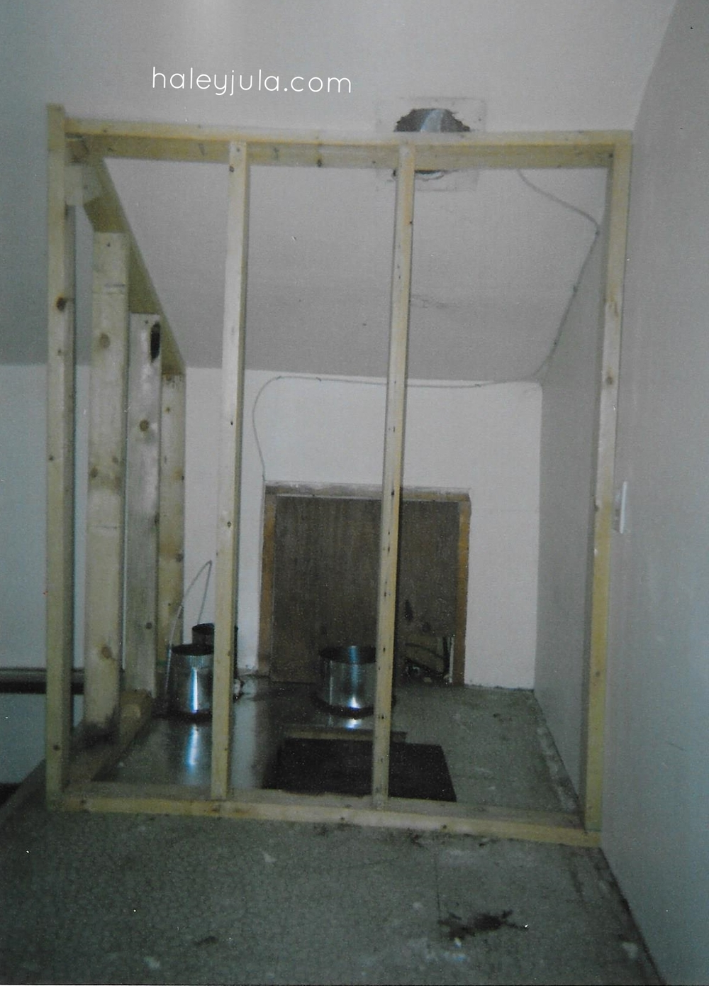 2008 when we purchased the house. This is the wall behind the desk. Todd built it to hide new heating ducts we had installed.