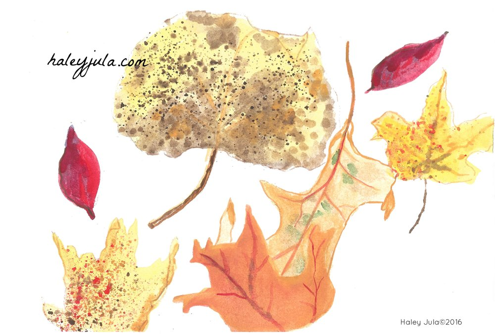 Autumn Leaves Watercolor by Haley Jula