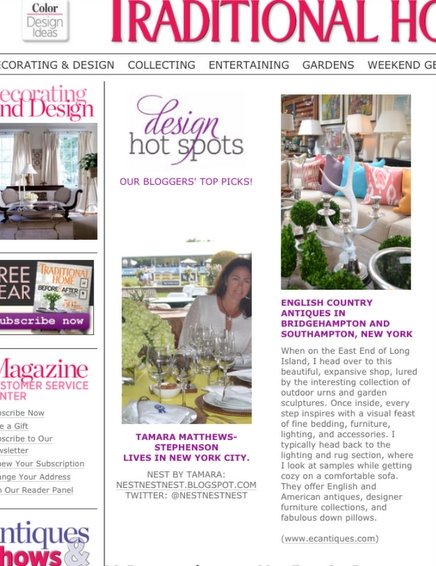 Tamara's feature in Traditional Home magazine