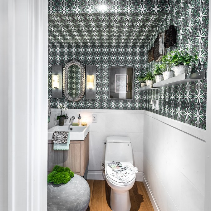 Holiday House 2016designer showhouseSOHO NYC  - the duo decorated a powder room for this designer showhouse in Soho, New York.  They custom designed a wallpaper from their root cellar designs' collection, then created a potter's bathroom off the terrace of this penthouse apartment.  Their work was featured in Architectural Digest Magazine and many others.