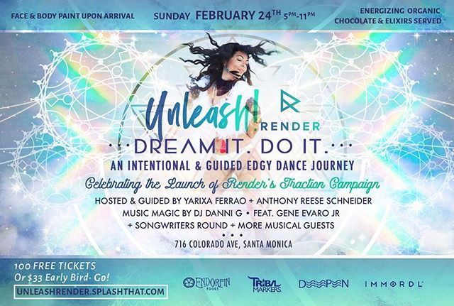 """I will be playing at this magical event this Sunday in support of my good friend @anthonyreeseschneider traction campaign for @render.music check it out! It's going to support music artists in a BIG way! Come and #Unleash """"Dream it, Do it""""! 🎶💃🏻✨🔥"""