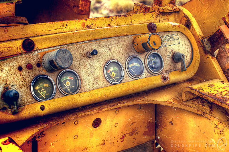 Control panel on a CAT mini-loader. Lightning Ridge, NSW, Australia.