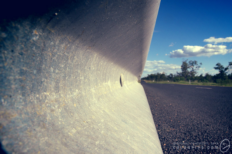Guardrail, Narran River bridge, Castlereagh Highway, northern NSW.
