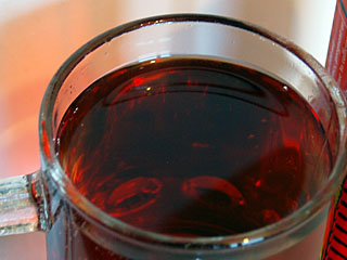 Close-up of Red Devil in a glass.