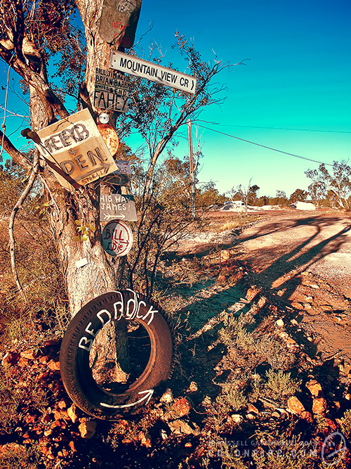 This is how road signage is generally handled in the Lightning Ridge opal fields. Anything and everything can and will be a sign.