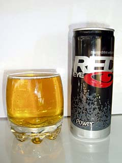 The can art follows the design of the Red Eye energy drink bottles, it's quite stylish.