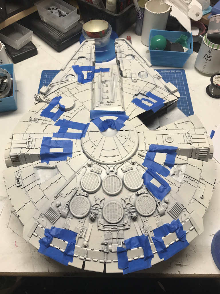 Masking for the red parts of the ship.