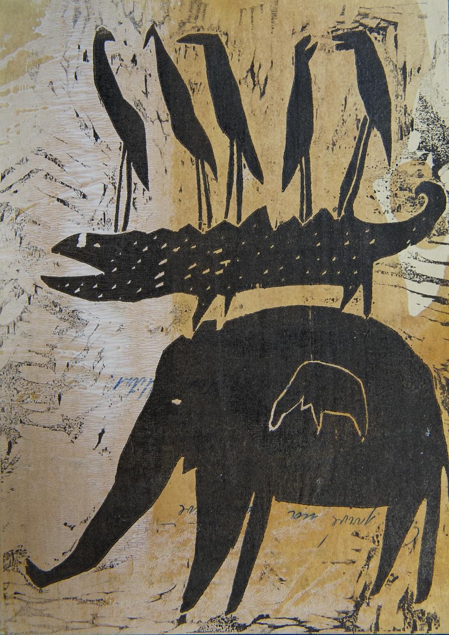 Serie: Aufeinander, Linoldruck auf Papier, 30x45 cm, 2015