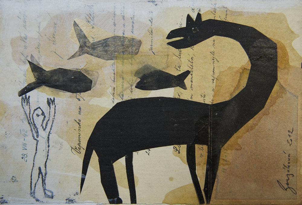 Fische und Urtier,  Mischtechnik auf Papier, 35x22 cm, 2016