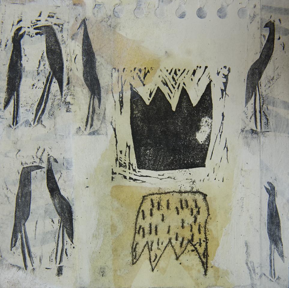 Kronen, Mischtechnik auf Papier, 30x30 cm, 2012