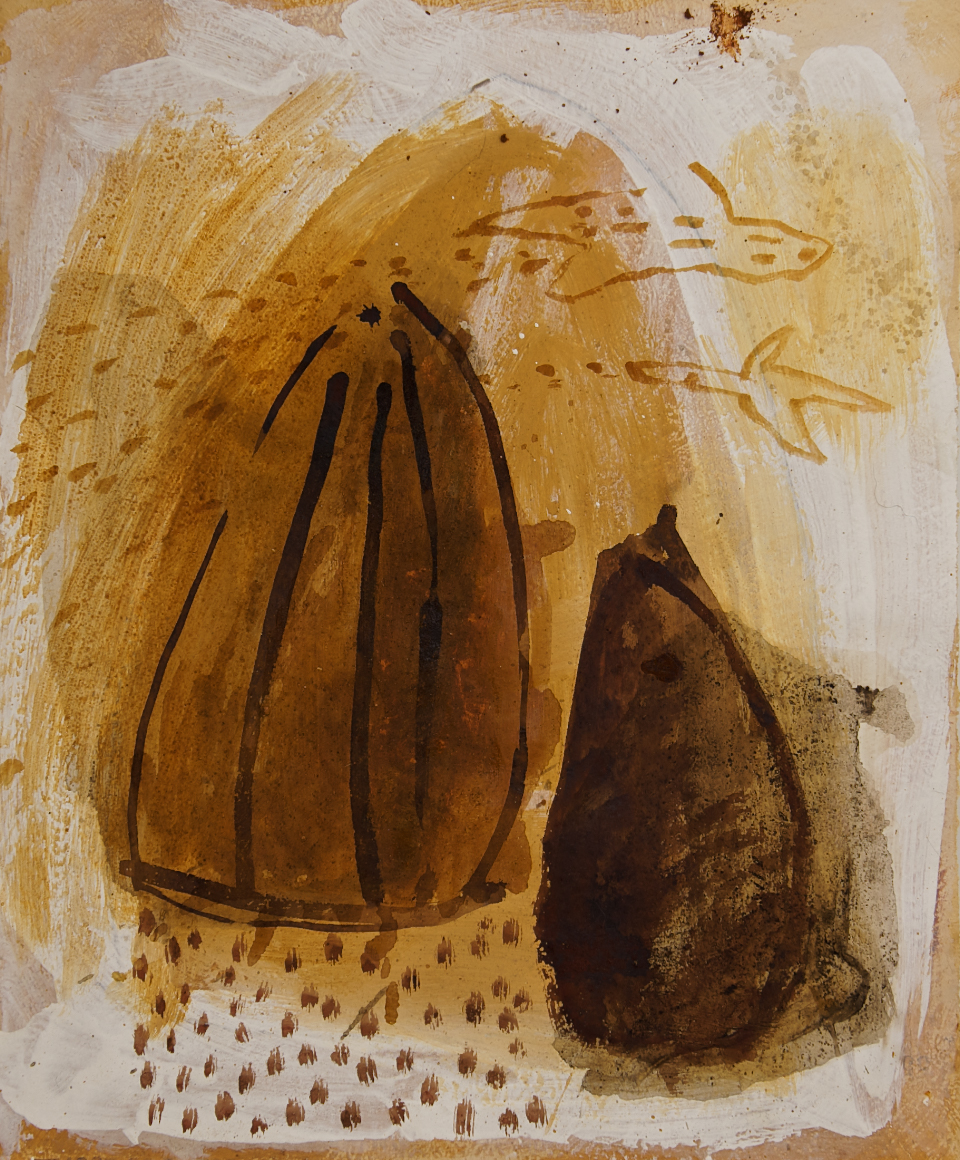 Hüllen, Mischtecnik auf Papier, 45x70 cm, 2011
