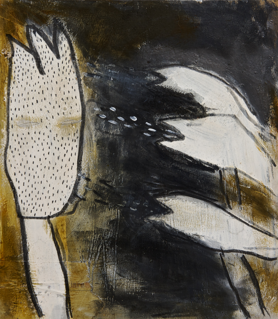 Aufdringlich, Mischtechnik auf Holz, 30x40 cm, 2011