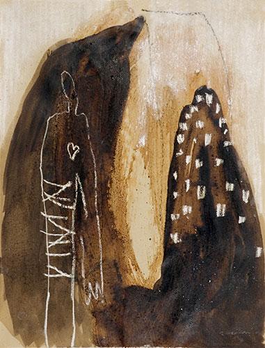 Im Berg gefangen, Mischtechnik auf Papier, 50x70 cm, 2011