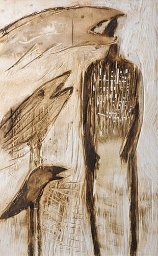 Kopflos, Mischtechnik auf Holz, 70x120 cm, 2003