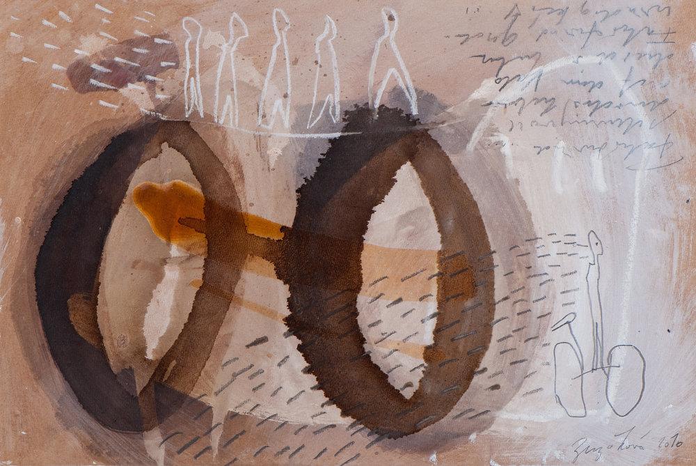 Unterwegs, Mischtechnik auf Holz, 40x25 cm, 2010