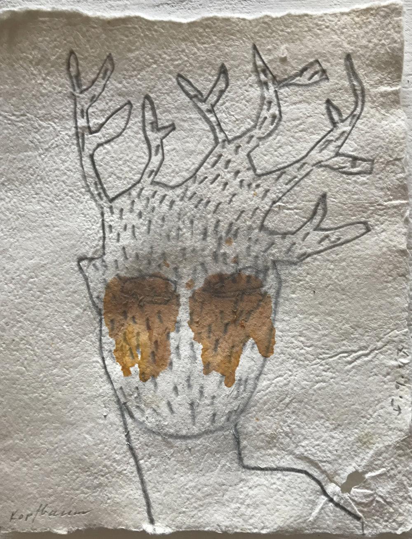 Zu viele Gedanken, Mischtechnik auf Papier, 35x40 cm, 2018