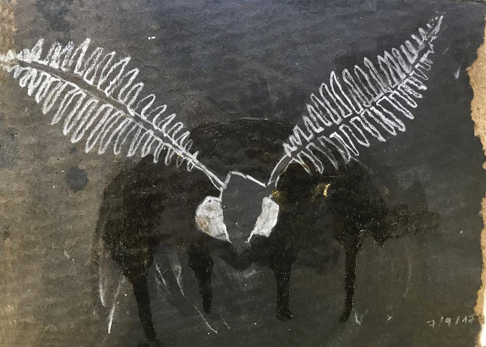 Insect, Mischtechnik auf Papier, 35x12 cm, 2018
