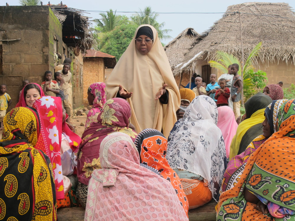 Fatma Juma conducting a women's focus group in Pemba village