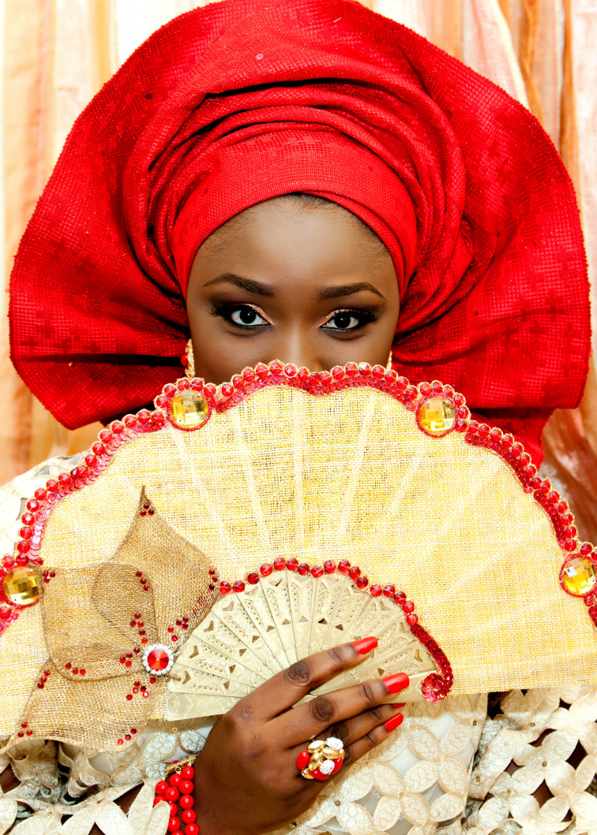 Yoruba Wedding Bride - Red & Peach Inspiration - Ibadan Wedding Photographer