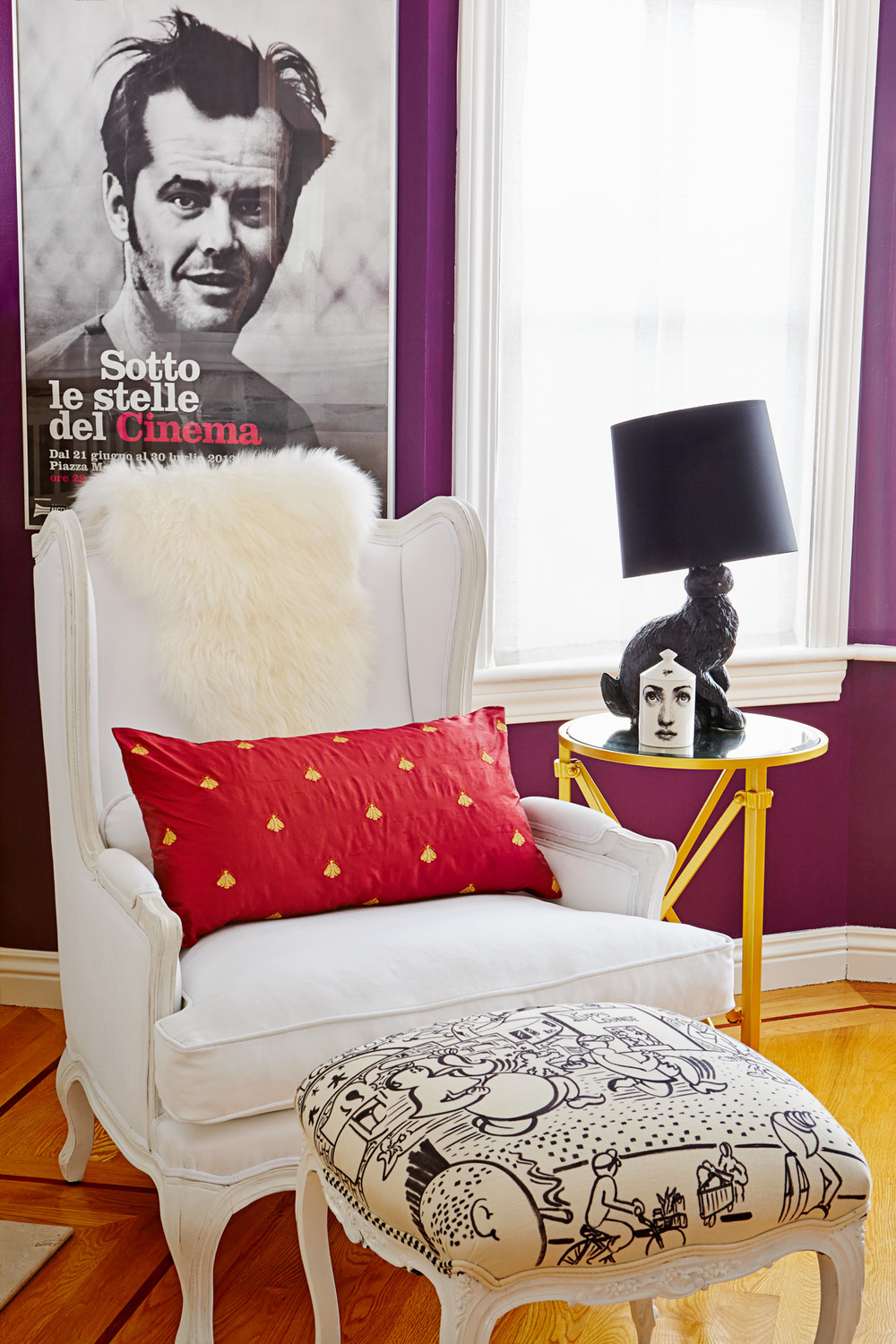 "Wingback ""Lorraine"" Chair, Restoration Hardware; Antique footstool Louis XV style, One King's Lane, custom decorated fabric; Rabbit Lamp, Moooi; Jack Nicholson Poster, Italy."