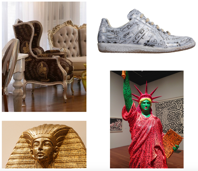 Clockwise from top left: Philippe Starck for Yoo wingback chair with fan upholstery and silver painted wood, Maison Martin Margiela sneakers, Keith Haring Statue of Liberty, Keith Haring Egyptian sculpture.