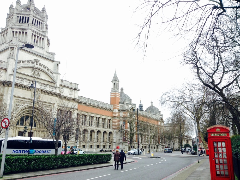 Victoria and Albert Museum, always good to get a red phone box in the photo, in case anyone doubts you are in London.