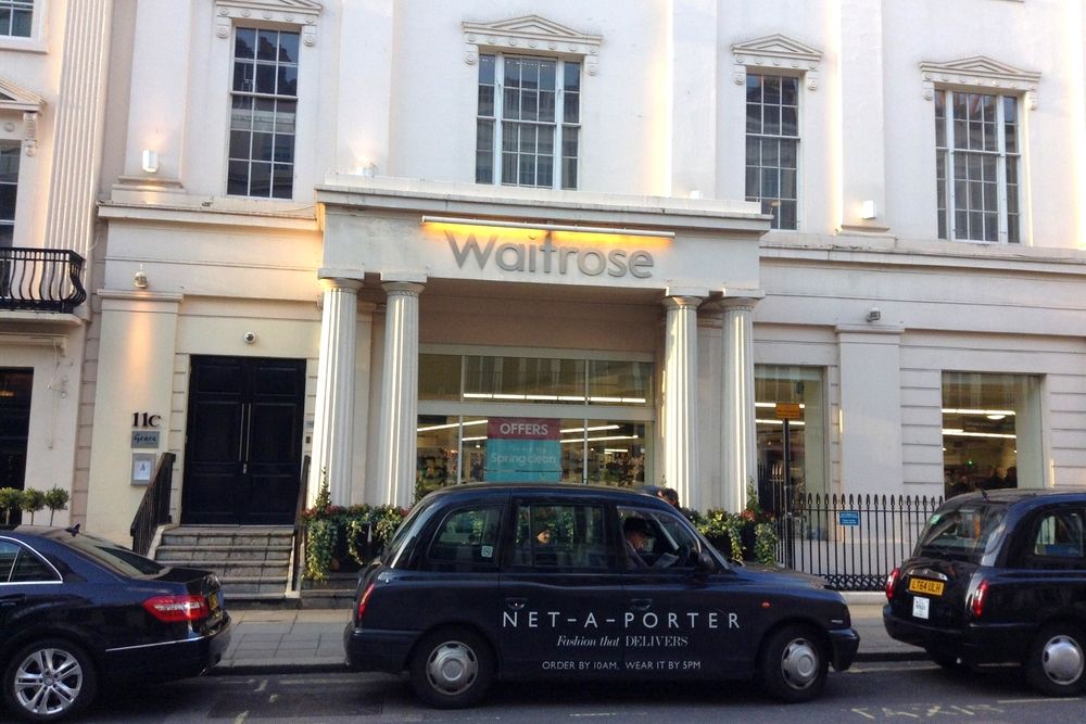 Please Note: This is a Waitrose in Belgravia.  There is a net-a-porter car in front of it.  THIS is a proper posh delish Waitrose.  Their poshness varies by 'hood, so keep that in mind.