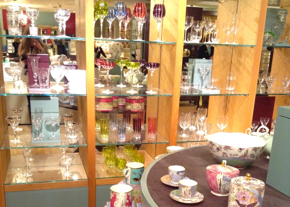 Glass display at Fortnum and Mason