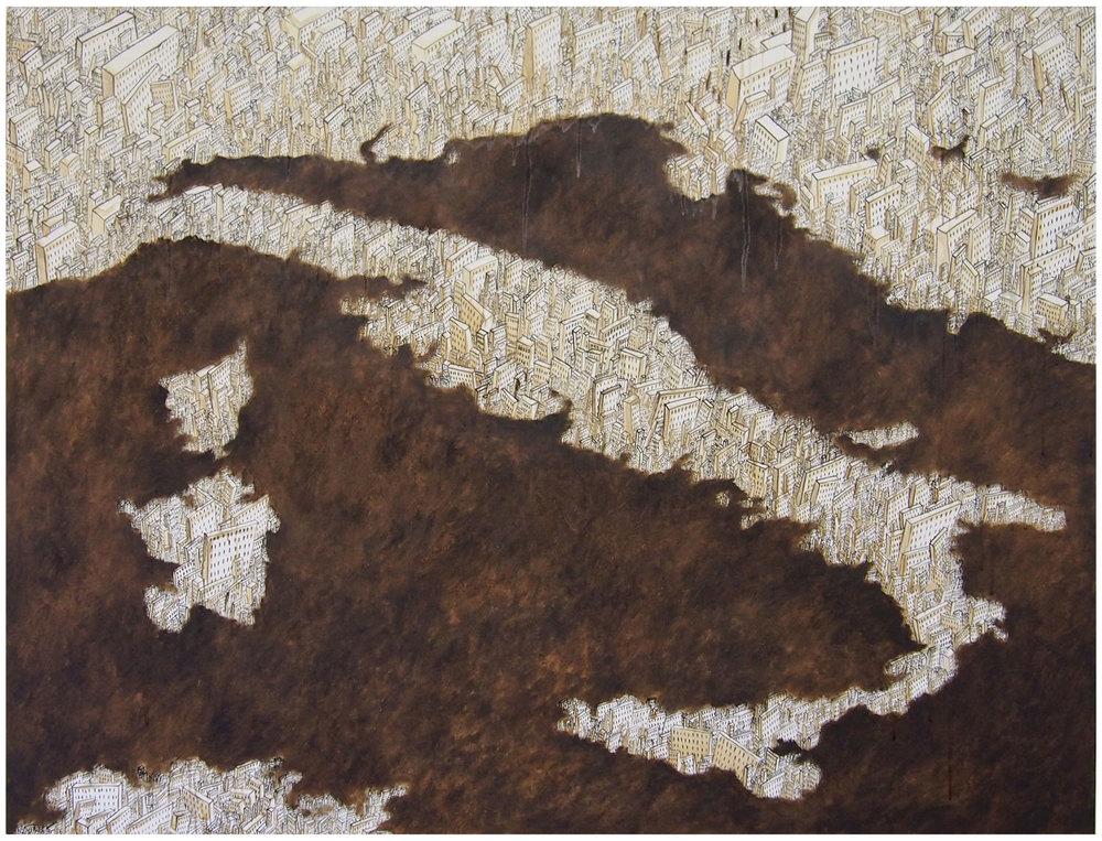 'Nuovomondo 32', bitume e olio su tela, cm 130 x 170, 2014