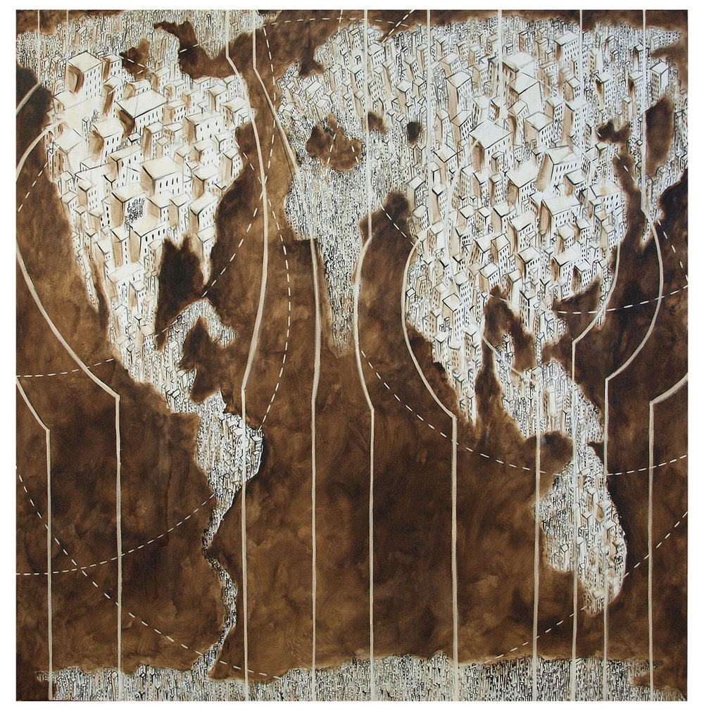 'Nuovomondo 30', bitume e olio su tela, cm 110 x 110, 2013