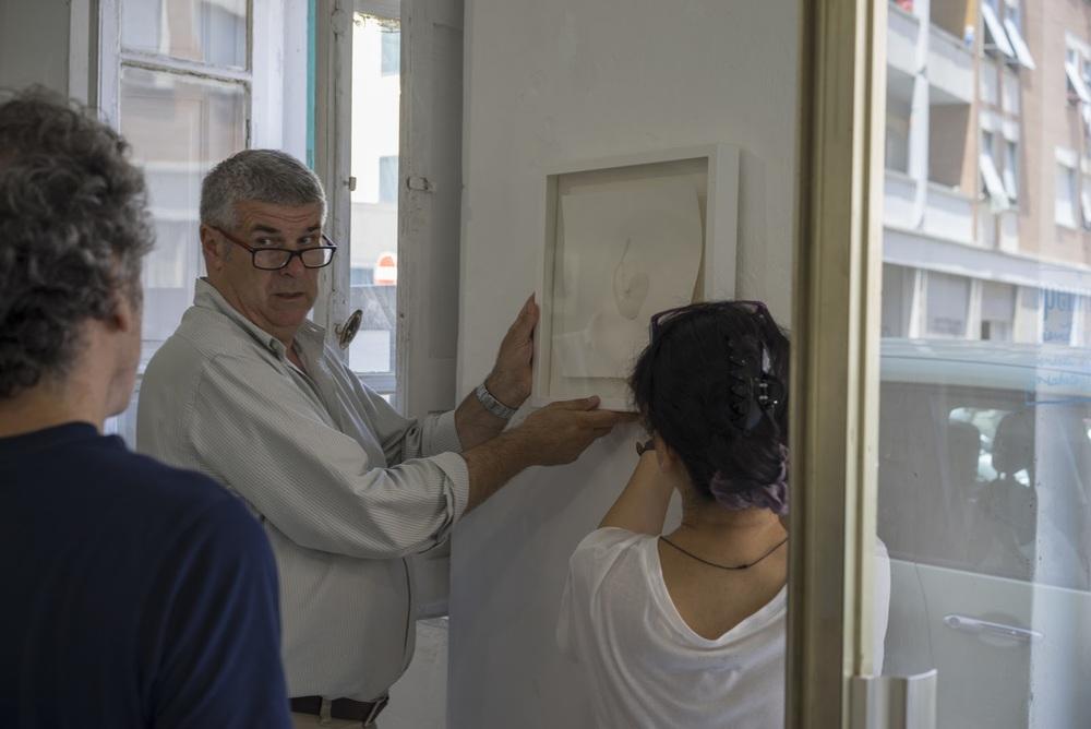 durante l'allestimento: Sergio Tossi