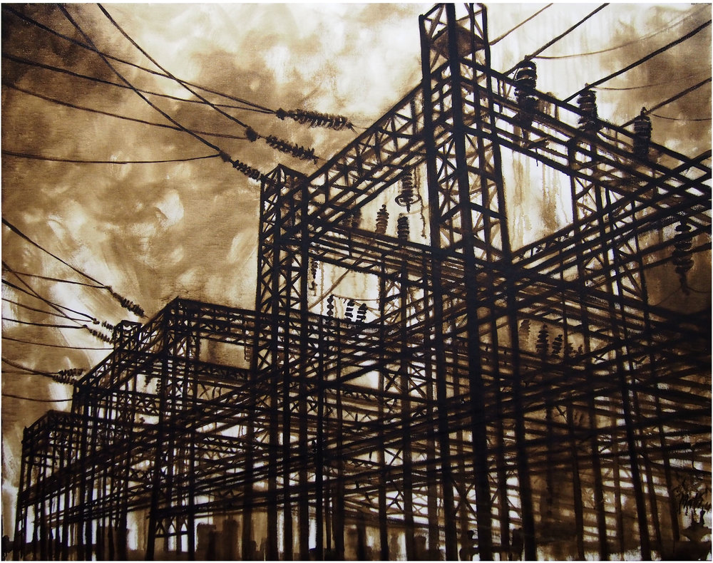 'Gabbia Elettrica', bitume su tela, cm 120 x 150, 2014