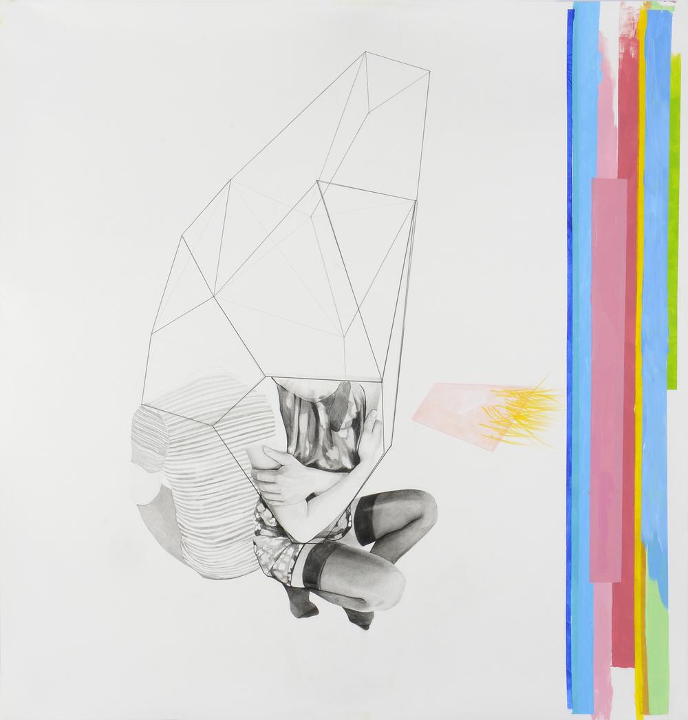 Valentina Biasetti, Millimentri (sensazioni di cose minime) #4, tecnica necessaria su carta-matita e pastelli a olio, mm750x750, 2015
