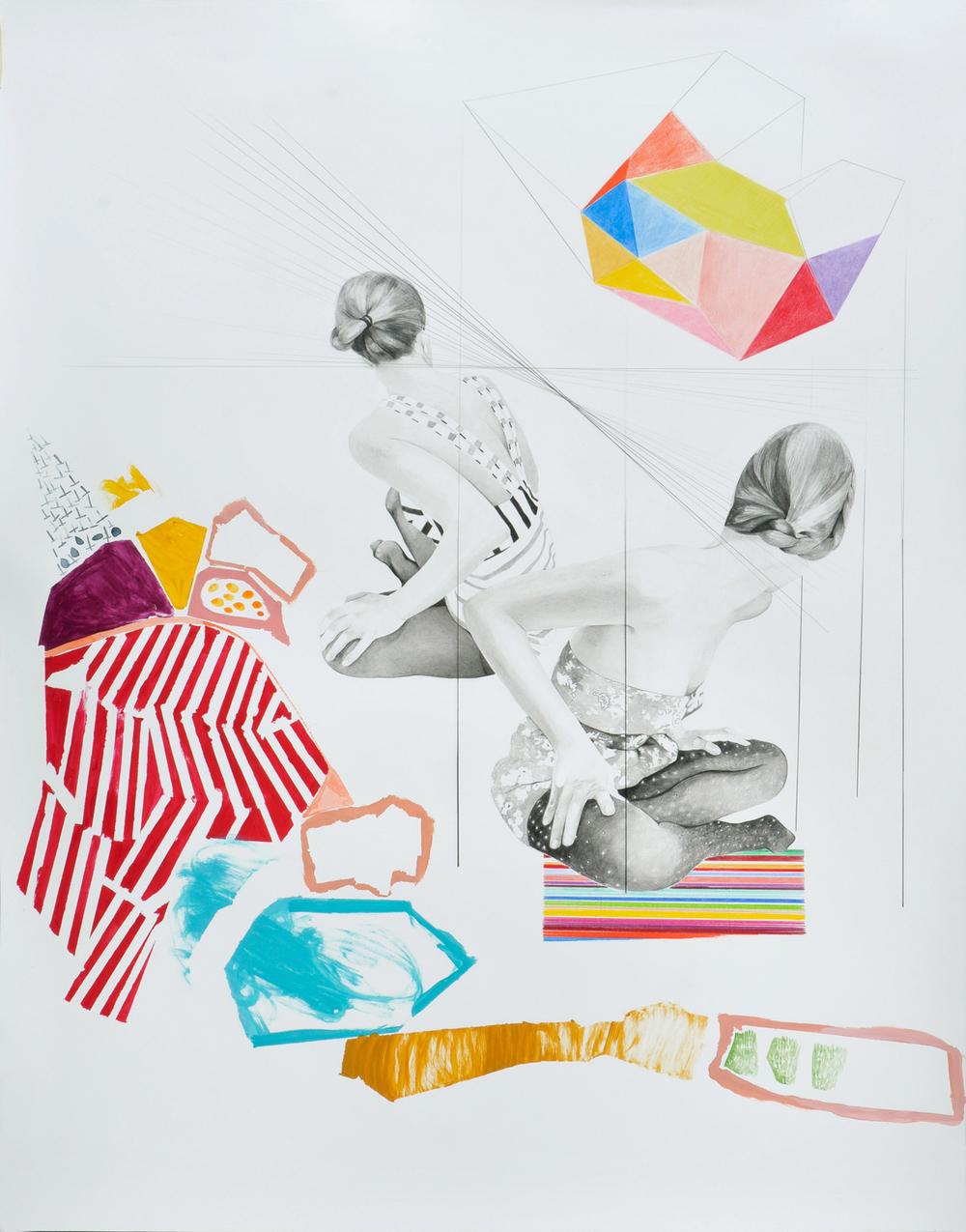 Landscape#5 matita, matite colorate e acrilico su carta, cm 80x100, 2015