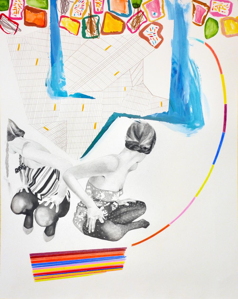 Landscape#7 matita, matite colorate e acrilico su carta, cm 40x50, 2015