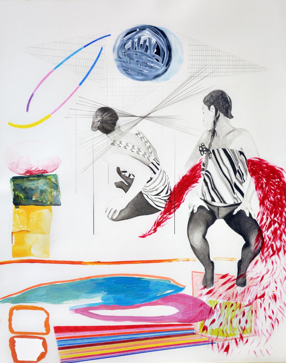 Landscape#8 matita, matite colorate e acrilico su carta, cm 40x50, 2015