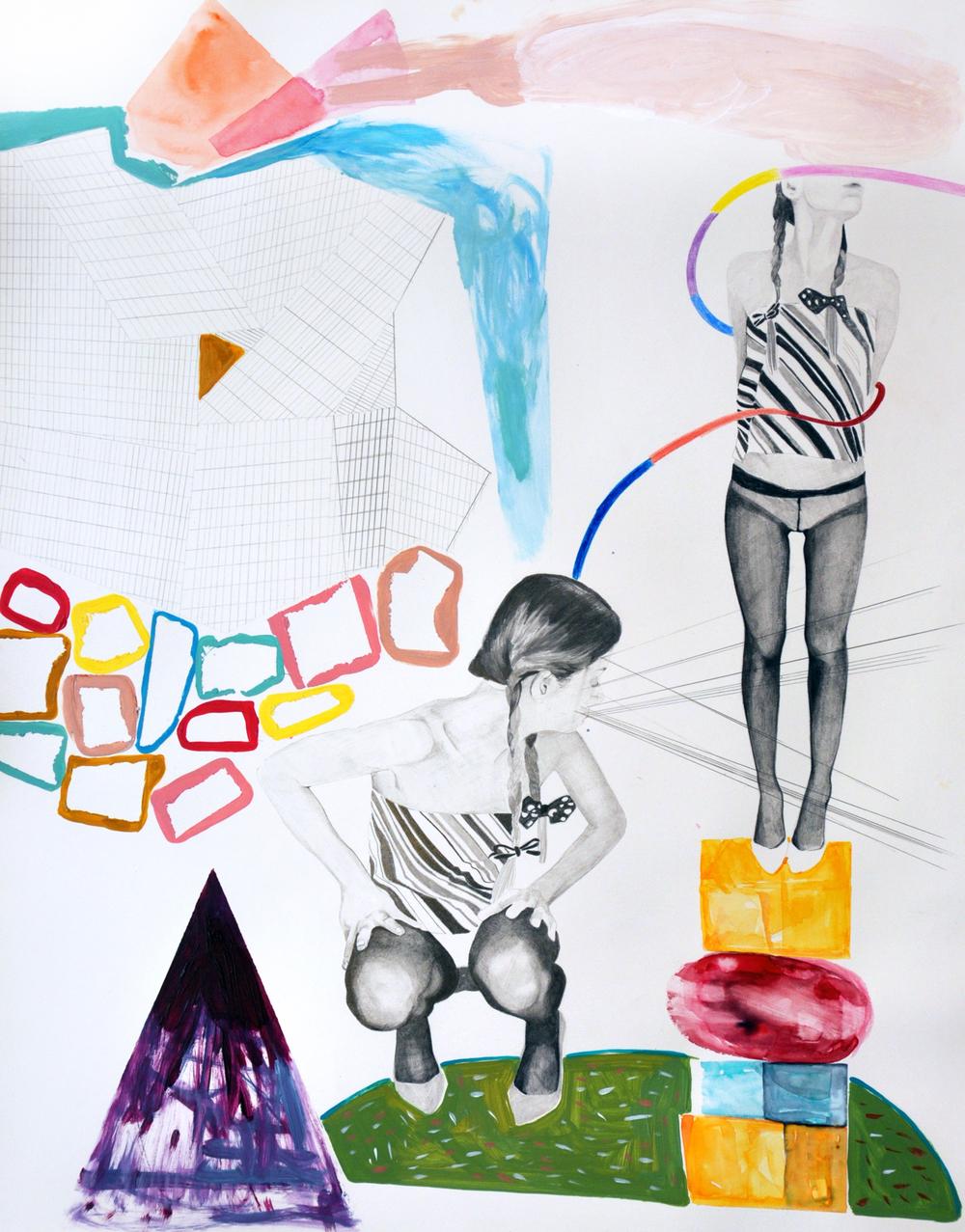 Landscape#9 matita, matite colorate e acrilico su carta, cm 40x50, 2015