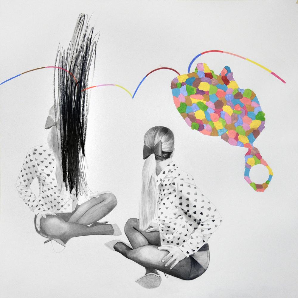 Landscape#13 matita, matite colorate e acrilico su carta, cm 50x50, 2015