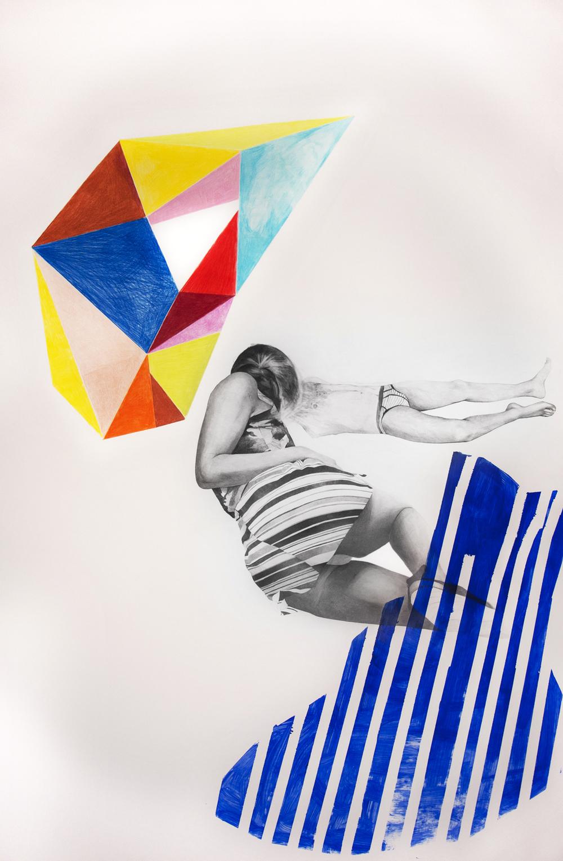 MILLIMETRI ( sensazioni di cose minime)#12 necessaria -matita, matite colorate e acrilico- su carta, cm 105 x 155, anno 2015