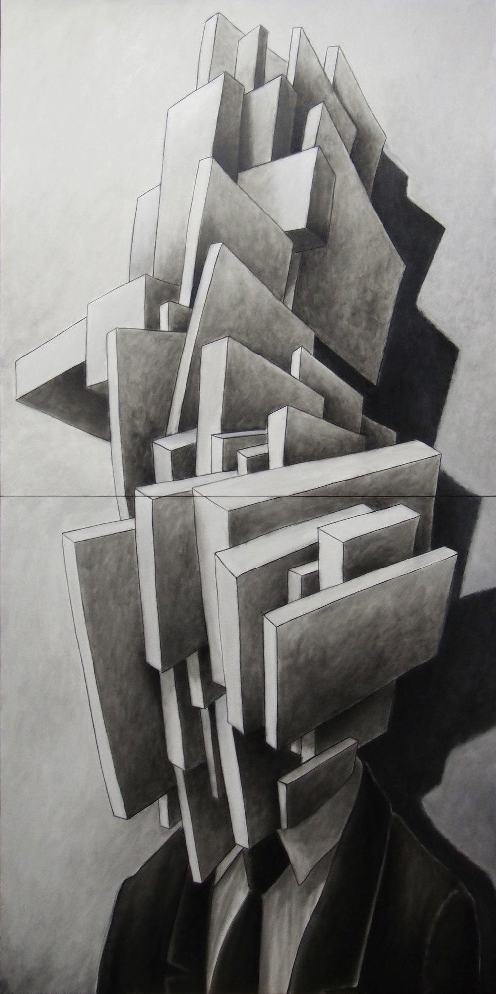 'BH # 10', (dittico) olio su tela, cm 220 x 110, 2013