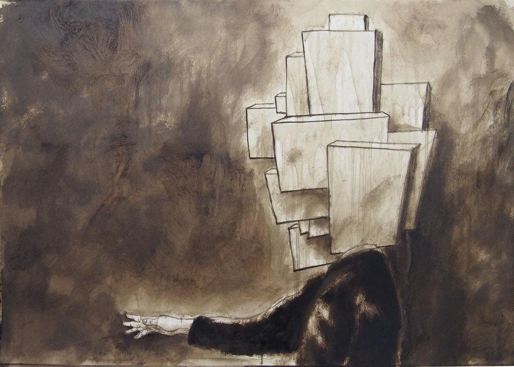 'Buildinghead', bitume su carta, cm 50 x 70, 2014