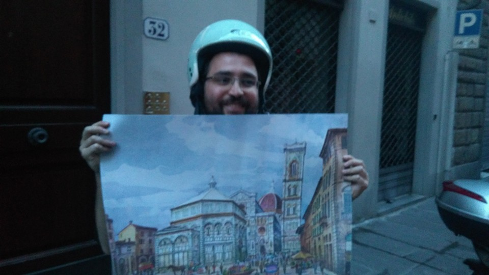 Ferruccio Mazzanti con l'immagine-simbolo di Topoi fiorentini