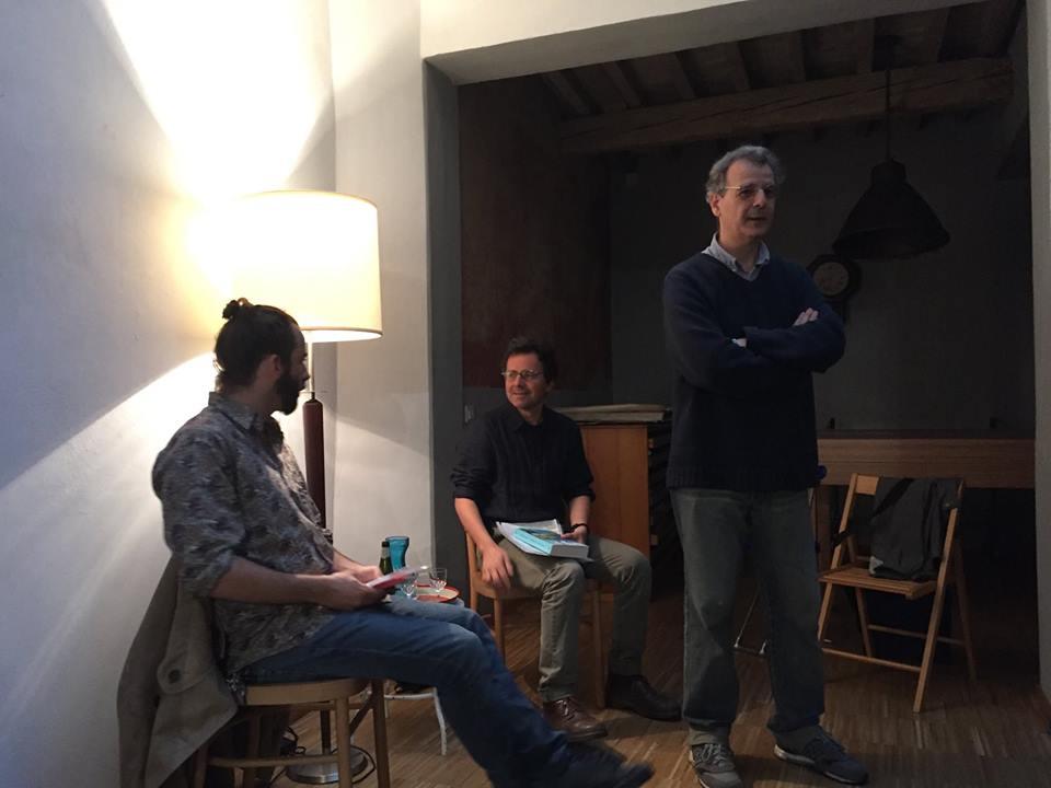 da sinistra: Vanni Santoni, Enzo Fileno Carabba, Stefano Loria. Cartavetra 02 Giugno 2016