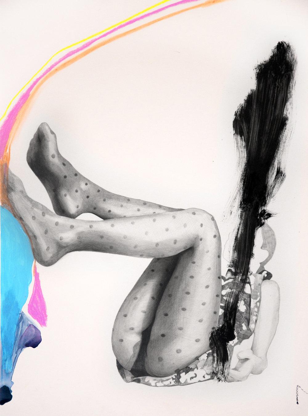 falling #8, tecnica necessaria (matite, matite colorate e smalto) su lenzuolo cm 30x40, 2016